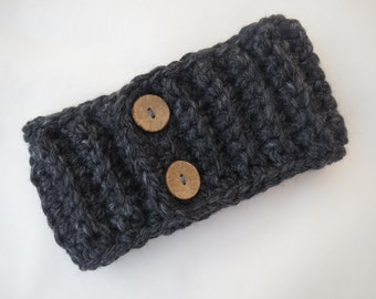 Ribbed Headwrap/Earwarmer with Buttons -REDUCED PRICE!