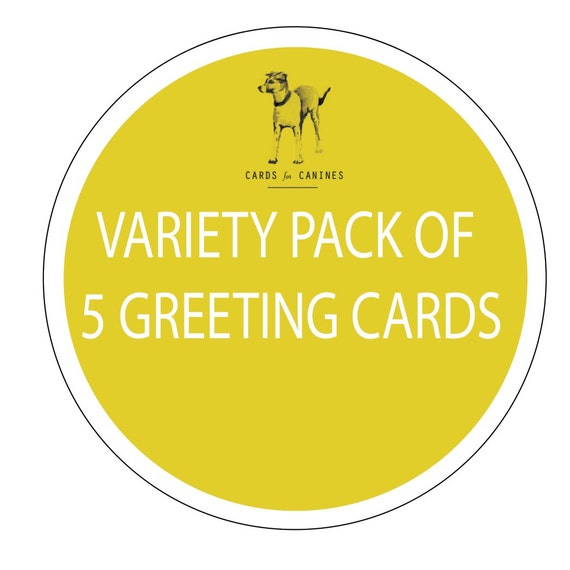Variety Pack Of 5 Greeting Cards By CardsForCanines On Etsy