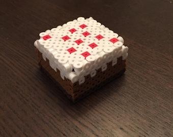 3D Perler Minecraft Cake