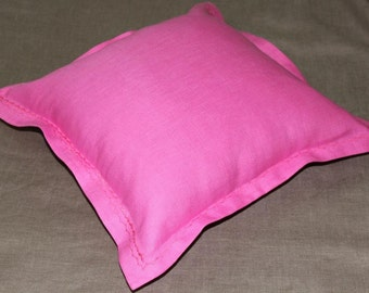 linen pillow  fuchsia color
