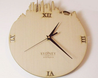 "Wooden wall clock - World cities "" SYDNEY """