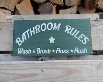 Bathroom Rules wash brush floss flush country decor wood sign