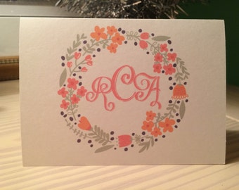 Flowered Wreath Personalized Monogram Stationary Set of 12