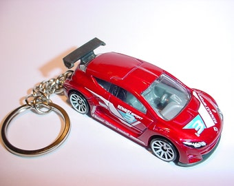 3D Renault Megane Trophy custom keychain by Brian Thornton keyring key chain finished in red color racing trim diecast metal body