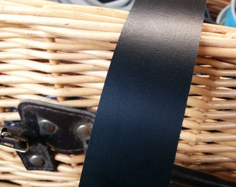 """Leather Strap Real Leather 50"""" x 3mm Any Width Matt Black ."""
