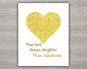 Yellow Heart Printable Poster, Printable Quote Poster, Glitter Decor, True Love Quote Print, Heart Wall Decor, Calligraphy Quote Love Poster