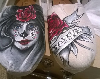 hand painted day of the dead tattoo style shoes,dia de los muertos handpainted shoes