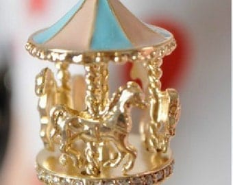 2PCS Gold plated carousel charm pendant,jewelry findings