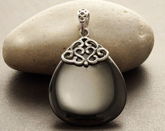 Hematite Silver Pendant - Sterling Silver - Filigree Pendant - Grey - Hematite - Boho Pendant - Vintage pendant - shabby chic pendant