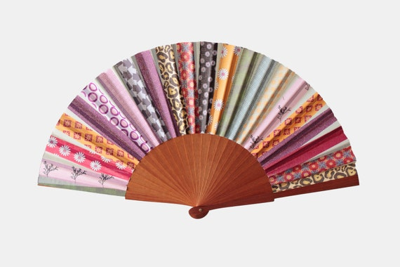Patchwork Design Hand Fan from Etsy
