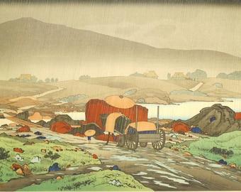 """Japanese Ukiyoe, Shin-hanga, Woodblock print, antique, Hashiguchi Goyo, """"Rain at Yabakei"""", large size."""