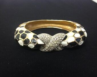 Vintage Jomaz Black/White Enamel Bracelet w/Rhinestones - COSTUME JEWELLERY