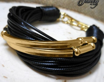 Multi-Strand Gold Tube Bracelet