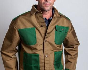 koothbrand Nylon Chore Coat- Camel With Green