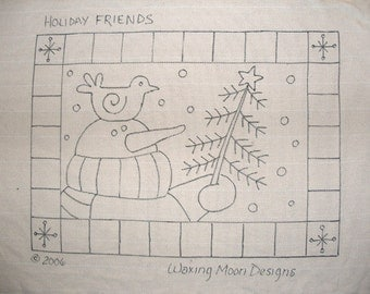 Hand-drawn Rug Hooking Pattern: HOLIDAY FRIENDS  16x23
