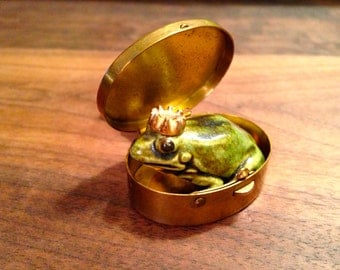 Tiny Vintage Brass Pill Box