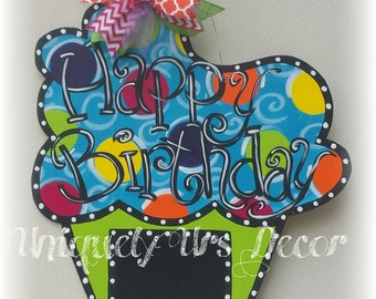 Happy Birthday Door Hanger, Cupcake Door Hanger, Door Hanger,