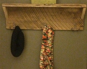 Old barnwood shelf with 6 hooks