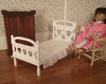Twin Bed for 18 in American Doll - White