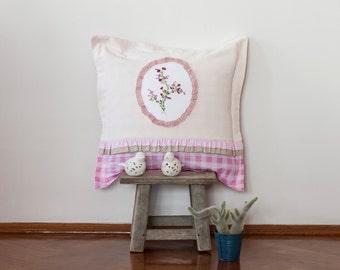 Vintage Handmade Pillow-Pink Pillow-Romantik Pillow-Ribbon Embroidery