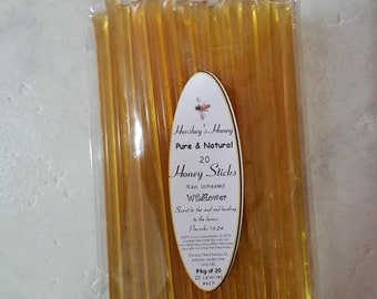 Honey Sticks, 100% Raw and Pure Honey filled sticks package of 20
