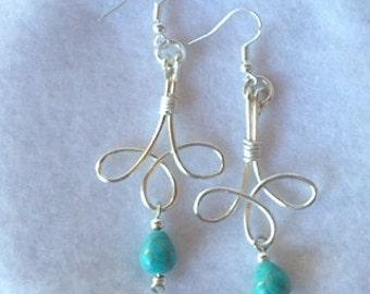 Celtic loop pierced earrings, Silver Plate wire, teardrop Magnesite turquoise stone