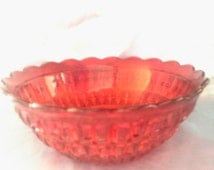 Rare Red Glass Salad Bowl