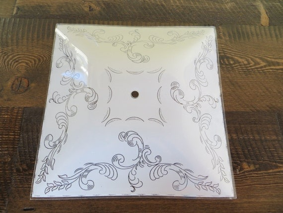 Vintage Frosted Glass Square Ceiling Light Shade By