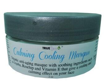 Organic Face Mask with Aloe Vera, Hyaluronic Acid, Vitamin C and E, Jojoba - Calming Cooling Organic Facial Mask -100% Money Back Guarantee!