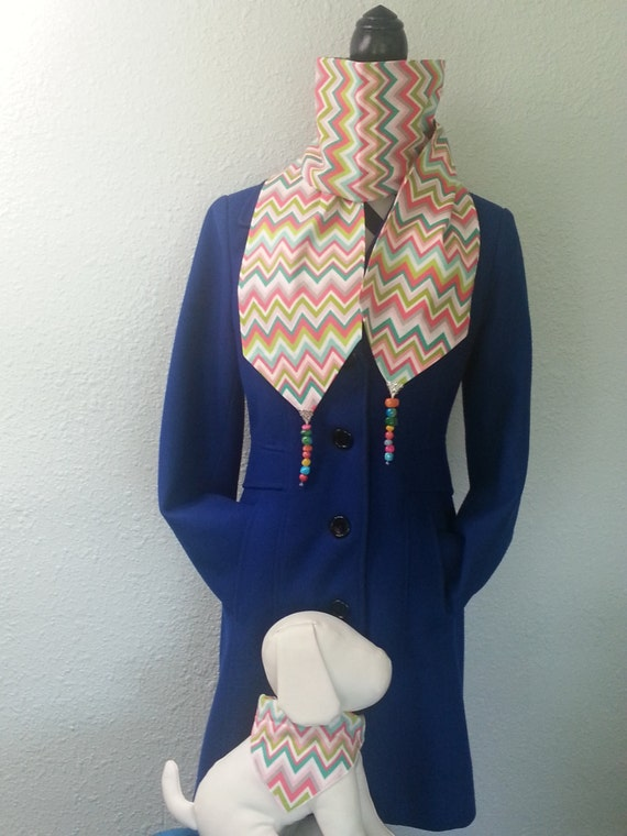 Multicolor chevron womens hand beaded scarf, earrings and coordinating dog collar cover/ bandana that slips over your dogs existing collar