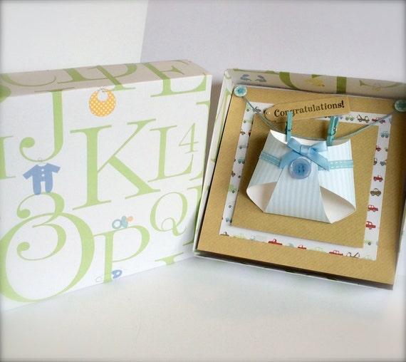 handmade 3D Boxed Nappy Card  New Baby Boy