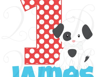 Dog Puppy Boy Name Age Birthday Personalized Iron On - Digital Download - You Print