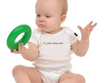 "OUT is in USA Baby Onesie, Black or White ,""Gaybies"""