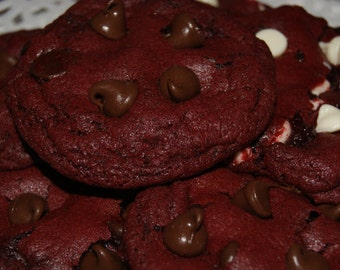 Red Velvet Chocolate chip cookies - One dozen, choose milk or white chips, homemade, edible gift, Father's Day gift, graduation gift