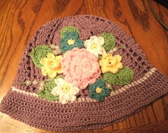 Hand Made Flower Crocheted Panama Hat - Spring Summer Hat, Easter Bonnet