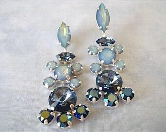 Vintage Style Swarovski Midnight Blue Crystal Bridal Earrings, wedding earring, bridesmaid earring, blue crystal earrings, dark blue earring