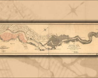 24x36 Poster; Map Anacostia River Washington Dc Maryland 1891