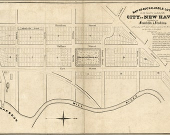 24x36 Poster; Map Of 400 Lots East New Haven Connecticut 1835