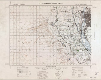 24x36 Poster; Map Of El Giza Egypt Manoeuvres 1933