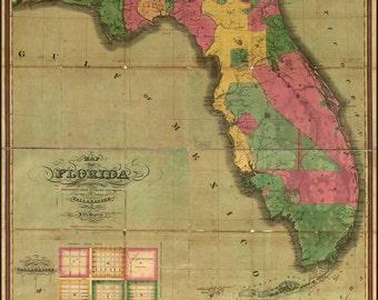 24x36 Poster; Map Of Florida 1829