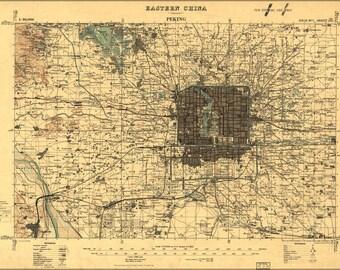 24x36 Poster; Map Of Peking Beijing China 1945