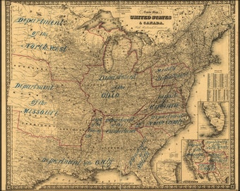 24x36 Poster; Map Of United States & Canada With Railroads 1862