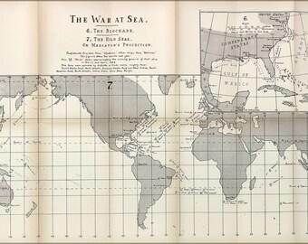 24x36 Poster; American Civil War At Sea Map 1863