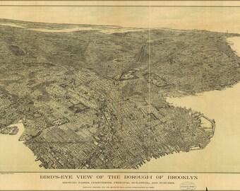 24x36 Poster; Birdseye View Map Of Brooklyn New York City 1897