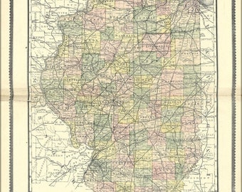 24x36 Poster; Map Of Illinois 1889