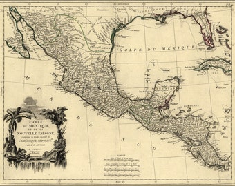 24x36 Poster; Map Of New Spain Mexico 1776
