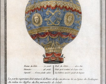 24x36 Poster; Montgolfier Brothers Hot Air Balloon 1786 Depiction Of The Montgolfier Brothers' Historic Balloon With Engineering Data