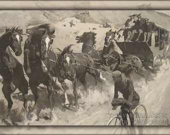 24x36 Poster; Right Of The Road Remington'S The Right Of The Road (1900),  Bicyclist Stagecoach