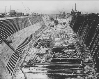 24x36 Poster; (Construction Progress Phptograph,Hunters' Point Dry Dock, San Francisco, Ca, Circa 1868 Showing The First Dry Dock