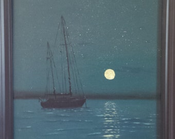 Sailboat - Midnight (Part of the Sailboat Trio Collection) by Alexander Lazaroff